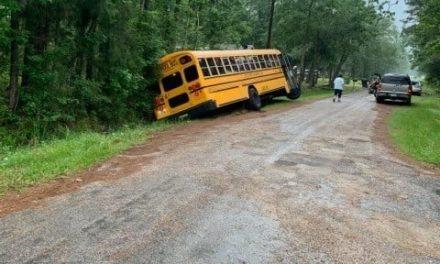 SCHOOL BUS SLIDES OFF ROADWAY